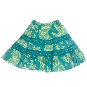 ANTHROPOLOGIE Odille Green Paisley Floral Skirt